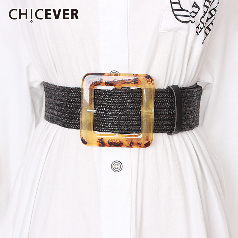 CHICEVER Summer High Waist Wide Belt Female Vintage Dresses Shirt Accessories Striped Belts For Women 2019 Fashion New