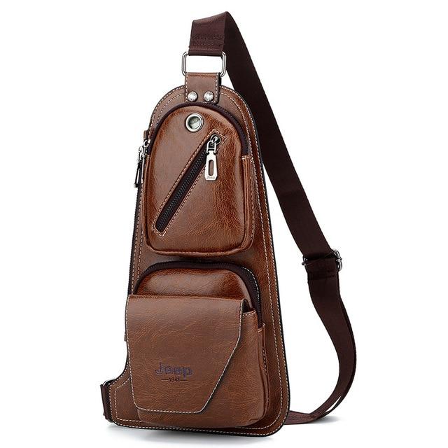3768b787d90c JEEP Men s Fashion Chest Pack Single Shoulder Strap JEEP Bag Leather Cross  body Bags Vintage Chest