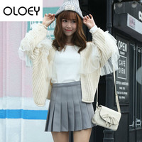OLOEYFashion Woman Sweater 2018 Autumn Winter New Korean Casual Solid Colour Lace Cardigans Loose Wild Woll Tide Jacket H910