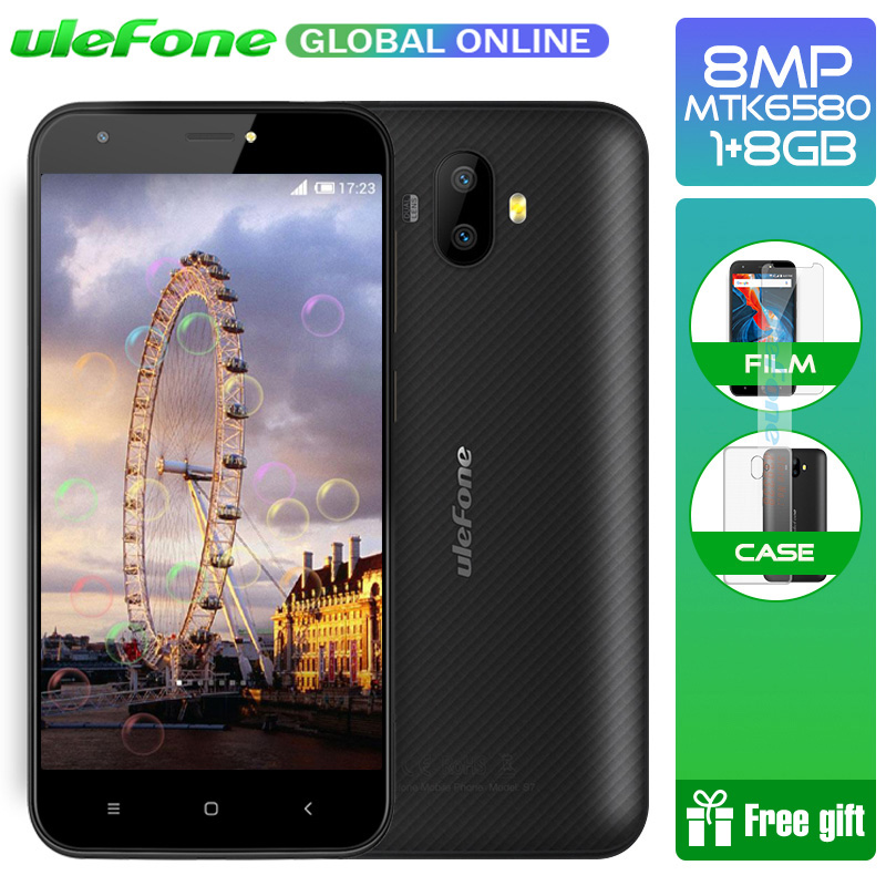 Ulefone S7 5.0 inch HD 3g WCDMA Smartphone Dual achteruitrijcamera MTK6580 Quad Core Drie Slots 8 gb ROM android 7.0 Mobiele telefoon