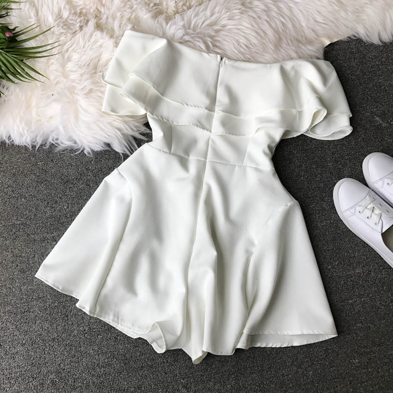 HTB1 neucoGF3KVjSZFmq6zqPXXaW - Candy Color Elegant Jumpsuit Women Summer Latest Style Double Ruffles Slash Neck Rompers Womens Jumpsuit Short Playsuit