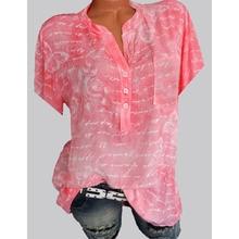 women blouses New large size shirt ladies elegant fashion temperament printed casual short-sleeved