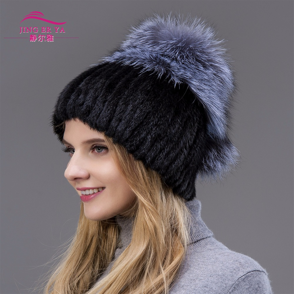 ФОТО 2017 hot sale Fur Fashion Winter Warm Women Knitting Caps Mink hats Vertical Weaving With Fox Fur On The Top And Pompoms Behind