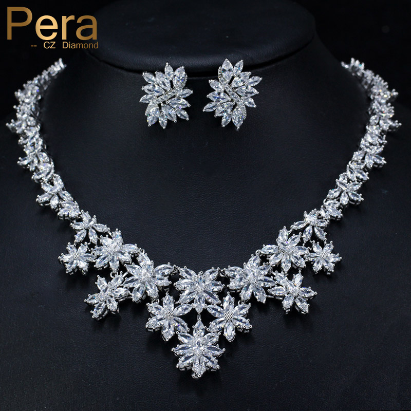 Pera Shinning AAA+ Marquise Shape Cubic Zirconia Big Heavy Flower Drop Pendant Necklace And Earrings Set For Bridal Wedding J270 pera newest big vintage hollow out design yellow cubic zircon round drop pendant necklace and earrings set for luxury women j199
