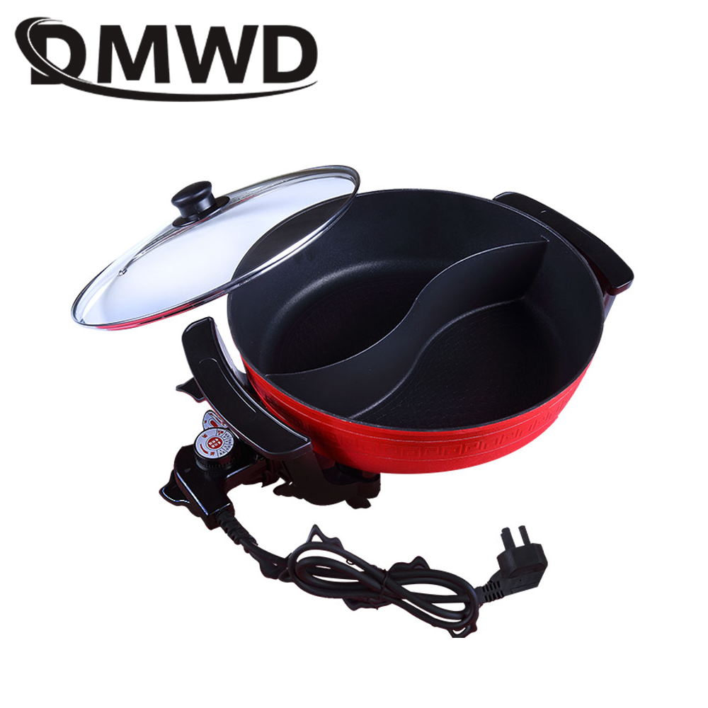 DMWD Twin Divided Chinese Hot Pot 6L Korean Multi-function Cookware Electric Cooker Hotpot Frying Pan Heating Multicookers EU US edtid multifunctional electric cooker mini heat pan students hot pot without oil fume nonstick frying pan special offer