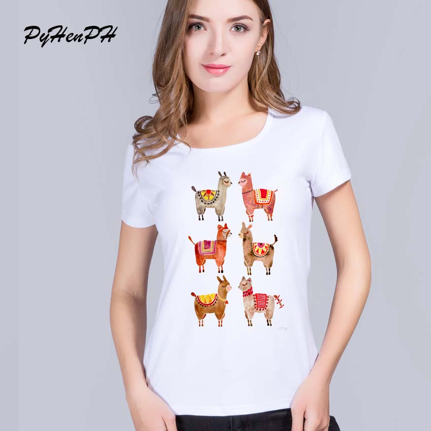 PyHenPH Summer Style clothes alpacas Printed T shirt Women Casual Short Sleeve Tops women tshirt lady Funny Cool tees