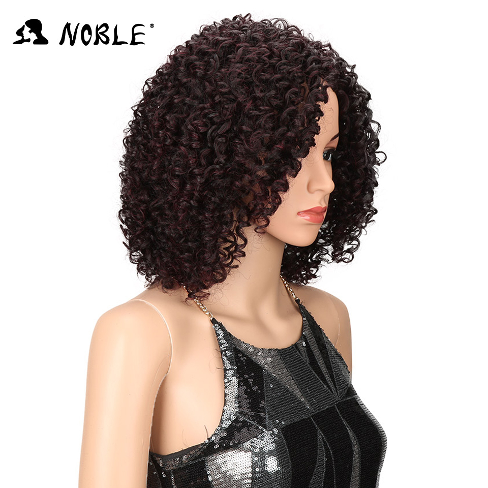 Noble Hair Short Curly Syntetisk Paryk 14 tums Ombre 99J Curly Parys - Syntetiskt hår - Foto 3