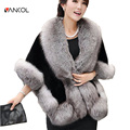 Vancol Brand Luxury Winter Warm Short High Waist Solid Color White Black Rabbit Red Gray Mink Fox Winter Poncho Faux Fur Cape