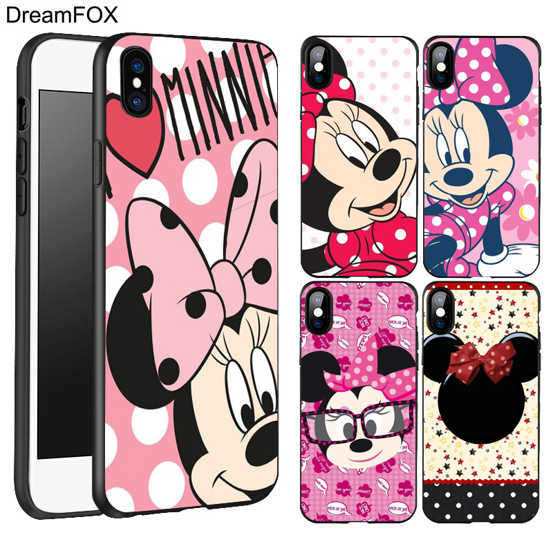 DREAMFOX L344 Minnie Mouse Black Soft TPU Silicone Case Cover For Apple iPhone X 8 7 6 6S Plus 5 5S 5G SE