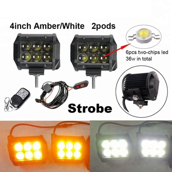 Flashing Strobe Led Light Bar White Amber LED Work Light Remote Control For Truck SUV ATV 4WD Boat Offroad Led Bar With Wire Kit
