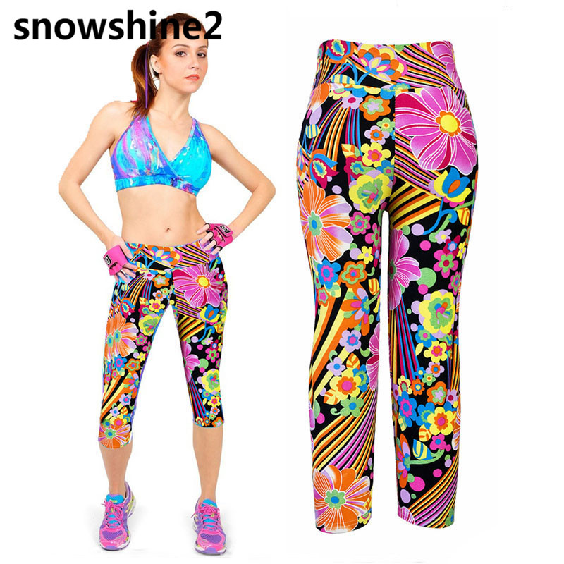 snowshine2 #5001 1PC Ms. high waist fitness riding sports trousers colorful printing stretch cut wholesale