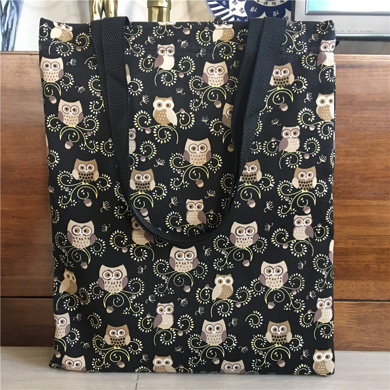 1Pc Handmade Polyester Canvas Shoulder Bag Shopping Tote Book Bag Print Owls Black 170103