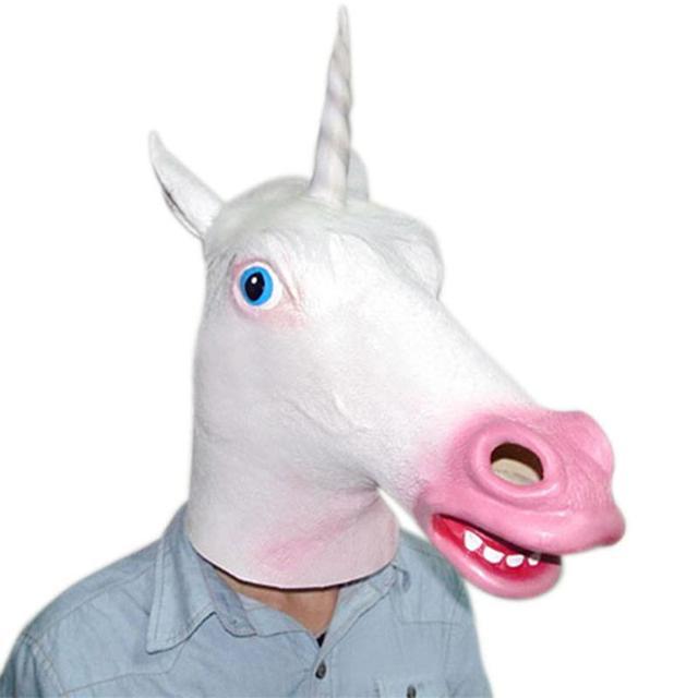 8f17483b78e9 Unicorn Horse Head Mask Halloween Costume Party Prop Novelty Latex Rubber  Creepy