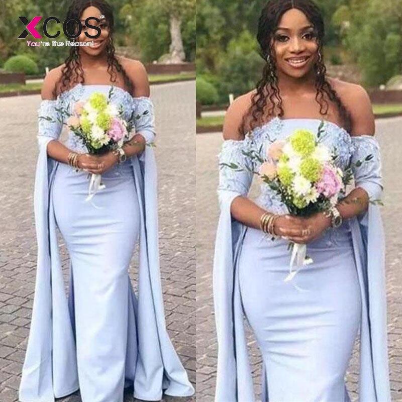 2019 robe de demoiselle d'honneur africaine longue sans bretelles dentelle Appliques Split manches longues sirène demoiselles d'honneur robes pour les mariages