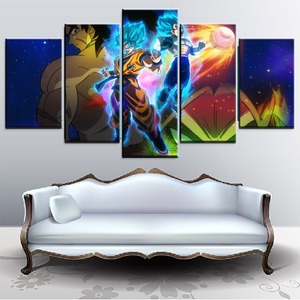 Большой постер один набор 5P аниме Жемчуг дракона супер Картина Современный домашний декор для стен холст печать броли и Гоку и Вегета карти...