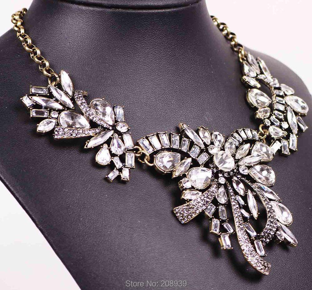 Fashion Jewelry Chain Crystal Stone Choker Chunky Statement Pendant Bib Necklace