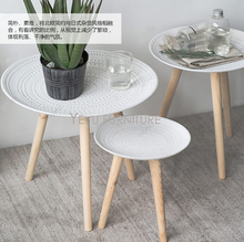 Minimalist Modern Design Polyresin and solid wood Small Side Table, Corner Table, Coffee Table, Creative fashion wood tea table