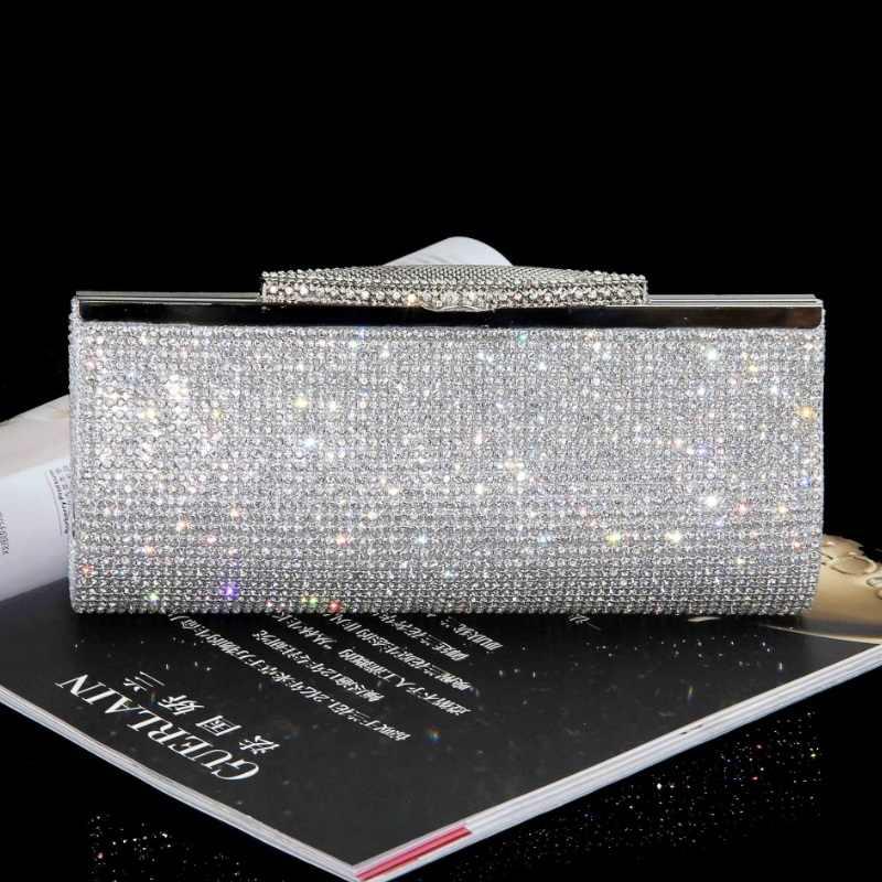7f1275ac0ccc Для женщин Полный алмаз клатч со стразами вечерняя сумочка; BS010 Роскошные  Bling Кристалл Свадебная вечерние