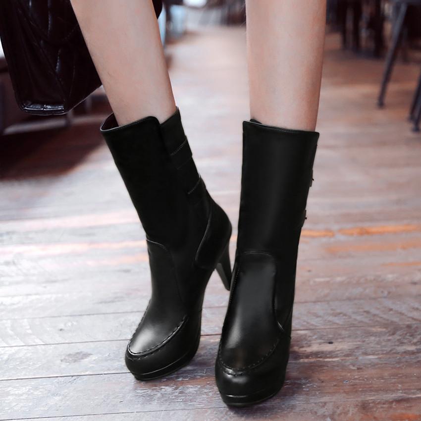 Autumn Winter Plush Woman High Heels Mid-Calf Boots Women Short Boots Ladies Shoes botas botte femme Plus Size 34-40.41.42.43
