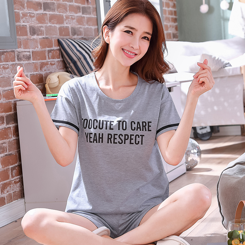 summer Short Sleeve gray Sleepwear Women Comfortable Cotton   Pajama     Set   Girl letter Print Pyjama   Set   girl Nightshirt   Sets   Outwear