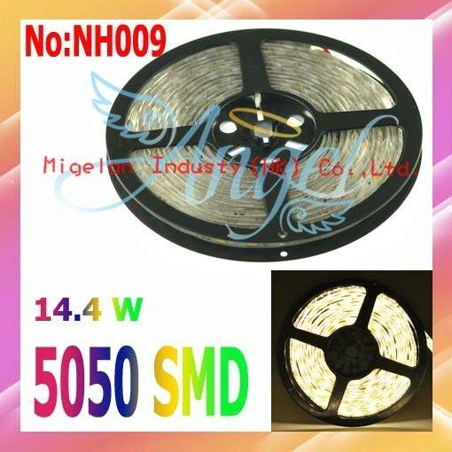 Wholesale Warm White SMD 5050 LED Strip waterproof 60LED/meter 5Meter/pcs  flexible led strip #NH009