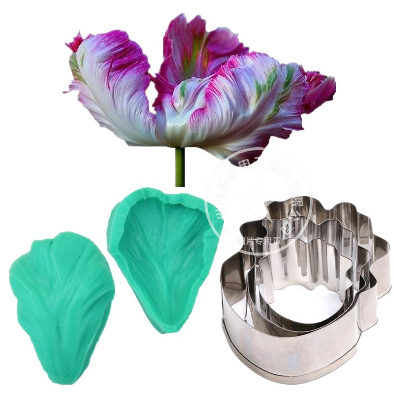Парфот лалагүлі Petal Silicone Veiner Flower Veiner баспайтын болат Cutter Cake Decorating Molds Fondant Sugarcraft Mold
