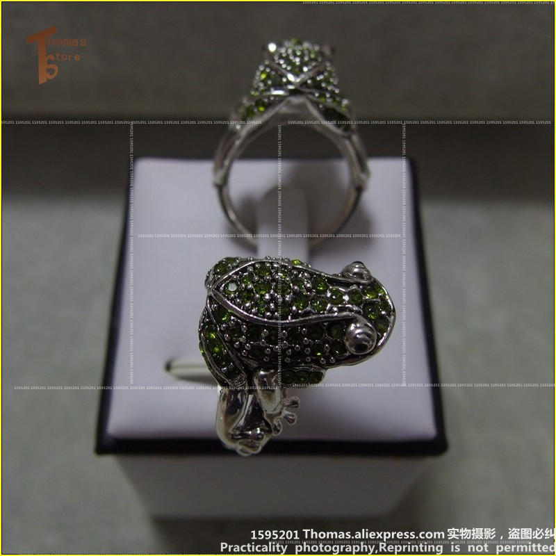 RS1203 Hot Sale silver-plated Rings 2 style zirconia frog size 8 women cute ring Glam and soul style ETERNITY Ring Jewelry