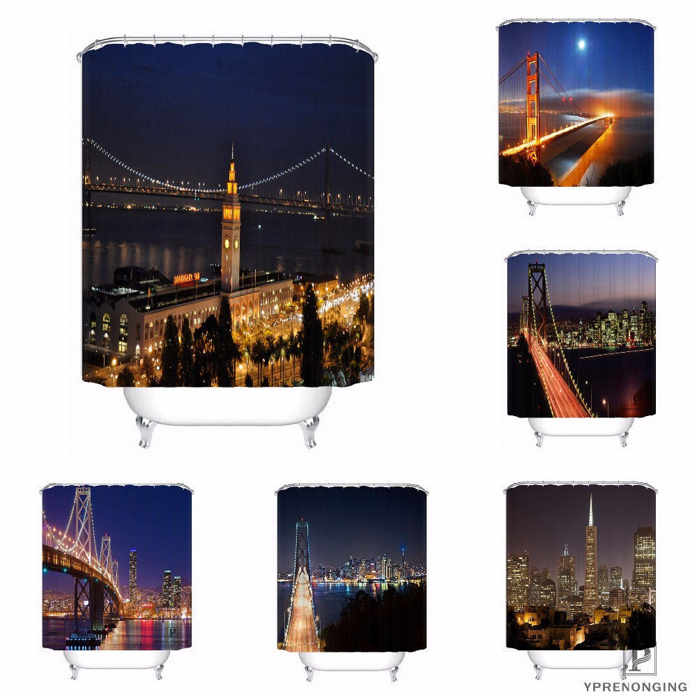 Custom Bay Bridge and San Francisco Waterproof Shower Curtain Home Bath Bathroom s Hooks ...
