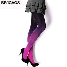 BIVIGAOS Стильные женские колготки с расцветкой градиент женское нижнее белье эластичные женские колготки безшовные невидимые колготки женские колготки Сексуальные чулки