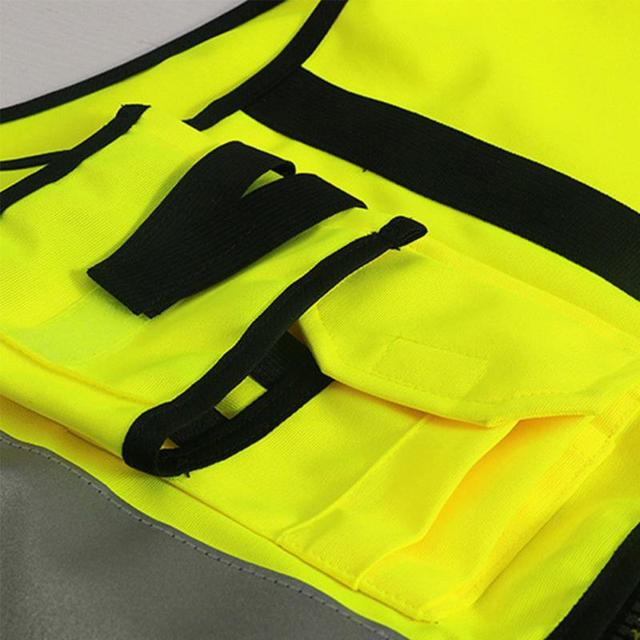 Professional Security Reflective Vest Pockets Design Reflective Vest High Visibility Safety Straps Outdoor Cycling Zip 4