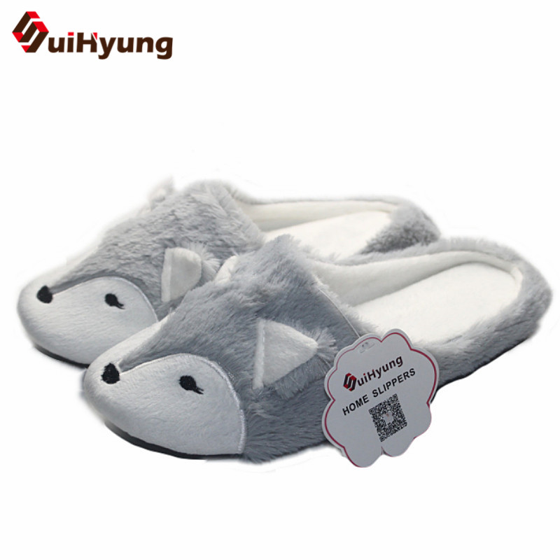 Suihyung 2017 New Fox Design Women Winter Indoor Shoes Non-slip Home Slippers Warm Plush Slippers Female Bedroom Floor Slippers
