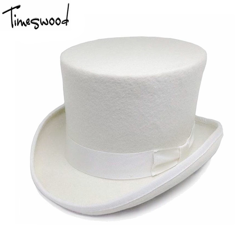 04a12bb60fbce 13.5cm Height White Wool Top Hats Mens Women Chapeau Fedora Magician Felt  Vintage Party Church Caps Fedoras Vintage Apka