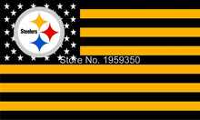 Pittsburgh Steelers Official Football Team 3X 5ft Flag with US star stripe(China)
