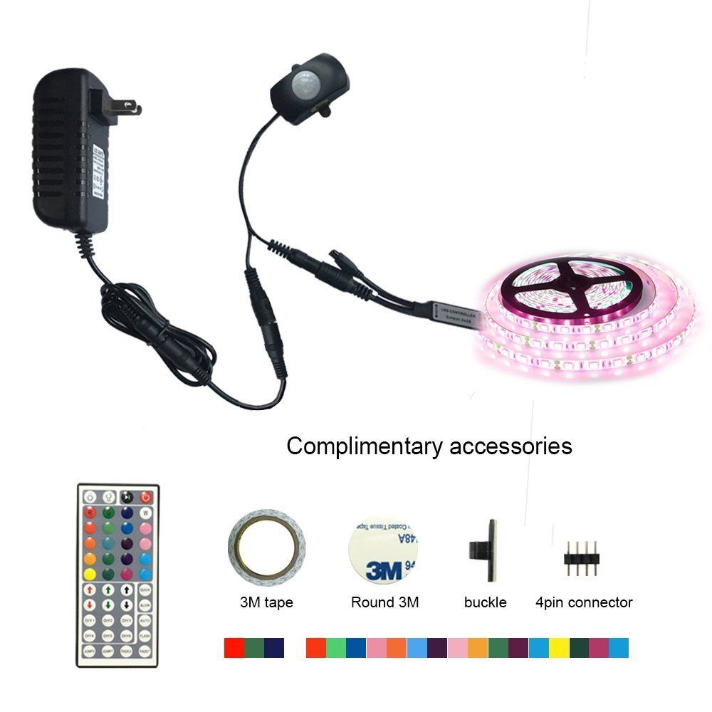 Motion Activated LED Bed light Kit RGB PIR Motion Activated LED Strip Sensor Night Light Automatic For Bedroom Wardrobe Hallway motion activated blue light 7 led message display wheel lights for bikes and cars