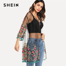 SHEIN Flower Embroidered Mesh Kimono Black Boho Longline Sexy Blouse Women Summer Beach Vacation Long Sleeve Plain Kimono(China)