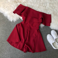 NiceMix Candy Color Elegant Jumpsuit Women Summer 2019 Latest Style Double Ruffles Slash Neck Rompers Womens Short Play
