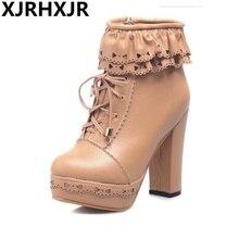 Xjrhxjr женская обувь японский симпатичный Лолита Сапоги и ботинки для девочек шнуровкой полусапожки Водонепроницаемый на толстом высоком каблуке женские Повседневные ботинки телесного цвета Обувь