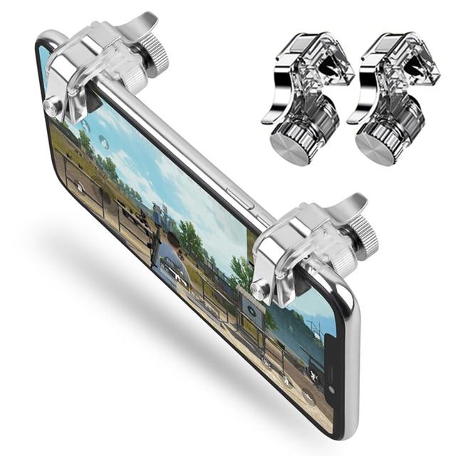 Teléfono Gamepad gatillo Botón de fuego objetivo llave inteligente teléfono móvil juegos de L1R1 tirador controlador PUBG V3.0 para Iphone Xiaomi