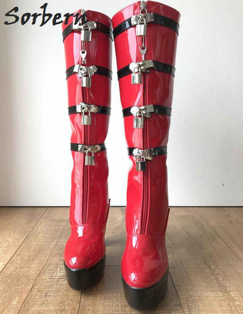 fa4d48ebb0 Sorbern Black And Red Knee High Boots Women Lockable Zipper Strap Block  Heels Platform Shoe Ladies Booties Custom Wide Fit Shoe