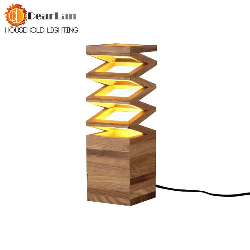 Wood Read Table Lamp Vintage Solid Wood Lamp Study Living Room Loft Foyer Lamp Free Shipping