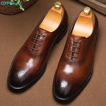 QYFCIOUFU 2019 Genuine Leather Mens Dress Shoes Luxury Classic Lace Up Business Office Male Shoes Fashion Men Shoes Wedding