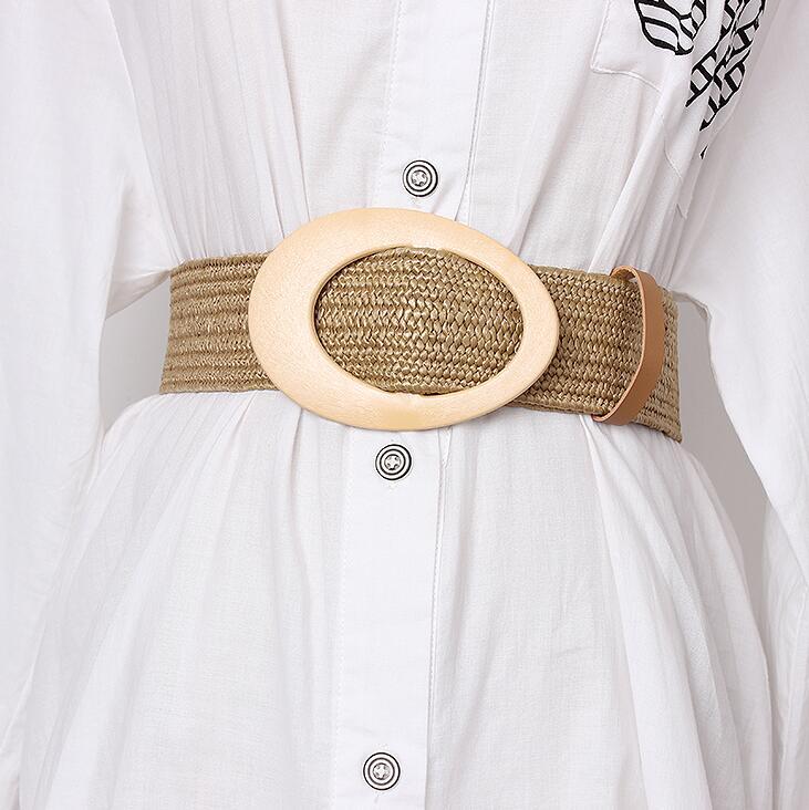 Women's Runway Fashion Knitted Cummerbunds Female Dress Corsets Waistband Belts Decoration Wide Belt R1683