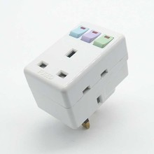 13A 250V British Standard Travel Socket  AC Power Adaptor With independent Switch One To Three Conversion