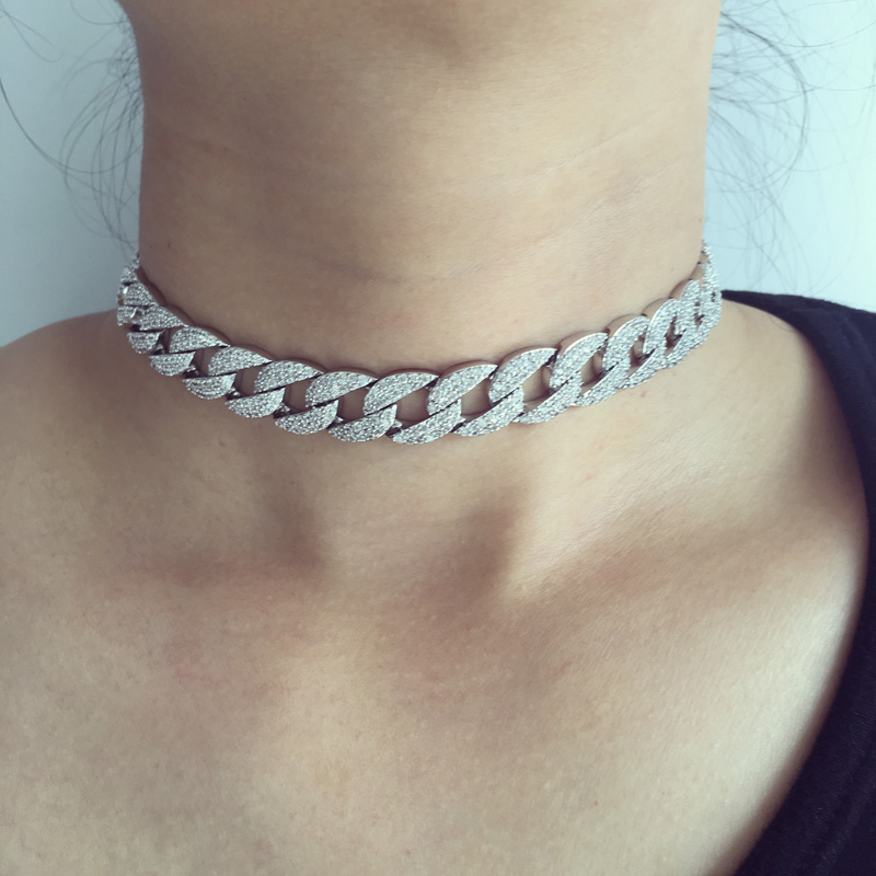white gold-color Statement Cuban Link Chain Choker Necklace adjust  Women Wedding Bijoux Wholesale free shipping