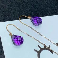 shilovem 18K yellow Gold Piezoelectric Amethyst stud earrings wedding fine Jewelry trendy  gift new plant myme0811398z