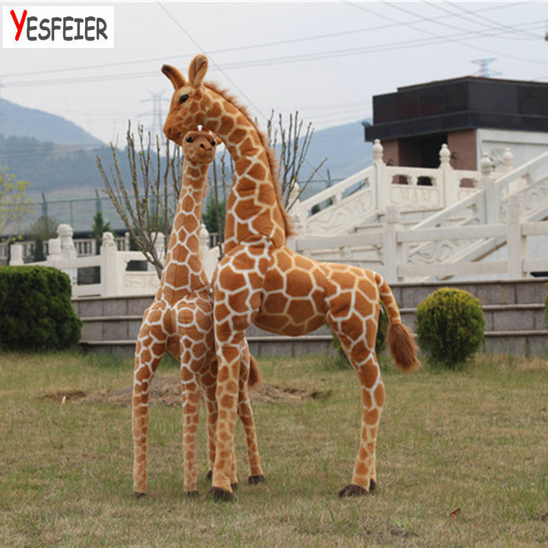 Drop shipping 60-120cm Simulation Plush Giraffe Toys Stuffed Animal Dolls Soft Giraffe Doll High Quality Birthday Gift Kids Toy stuffed animal toy monkey doll simulation silver back gorilla dolls plush toys for children
