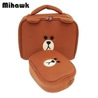 2Pcs Set Cartoon Cute Animal Markup Bag Women S Travel Cosmetic Case Girl S Portable Organizer
