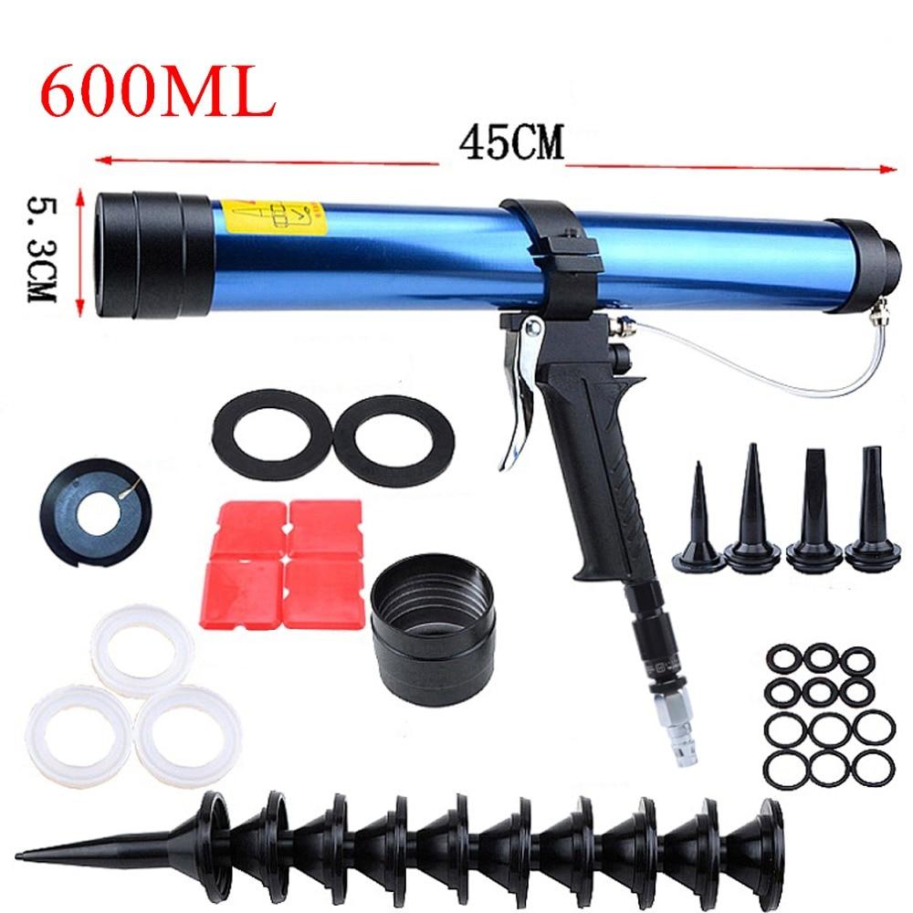 600ml Pneumatic Caulking Gun Sets Glass Glue Air Rubber Guns Sealant Sausages Caulking Grout Silicone Pistol Construction Tools