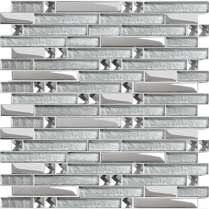 silver plated glass mosaic tile backsplash ideas bathroom shower crystal glass diamond wall tiles cheap mirror tile sheets yg001