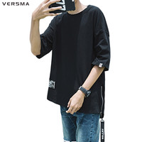 VERSMA 2017 Fashion Korean Harajuku Ribbon Side Zipper Pathcwork T Shirt Men Summer Hip Hop Dovetail